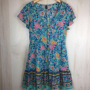 Zaful Floral Blue Mini Dress Boho Size M 6 US
